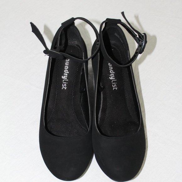 #0154  Laundry List  black suede ankle shoes